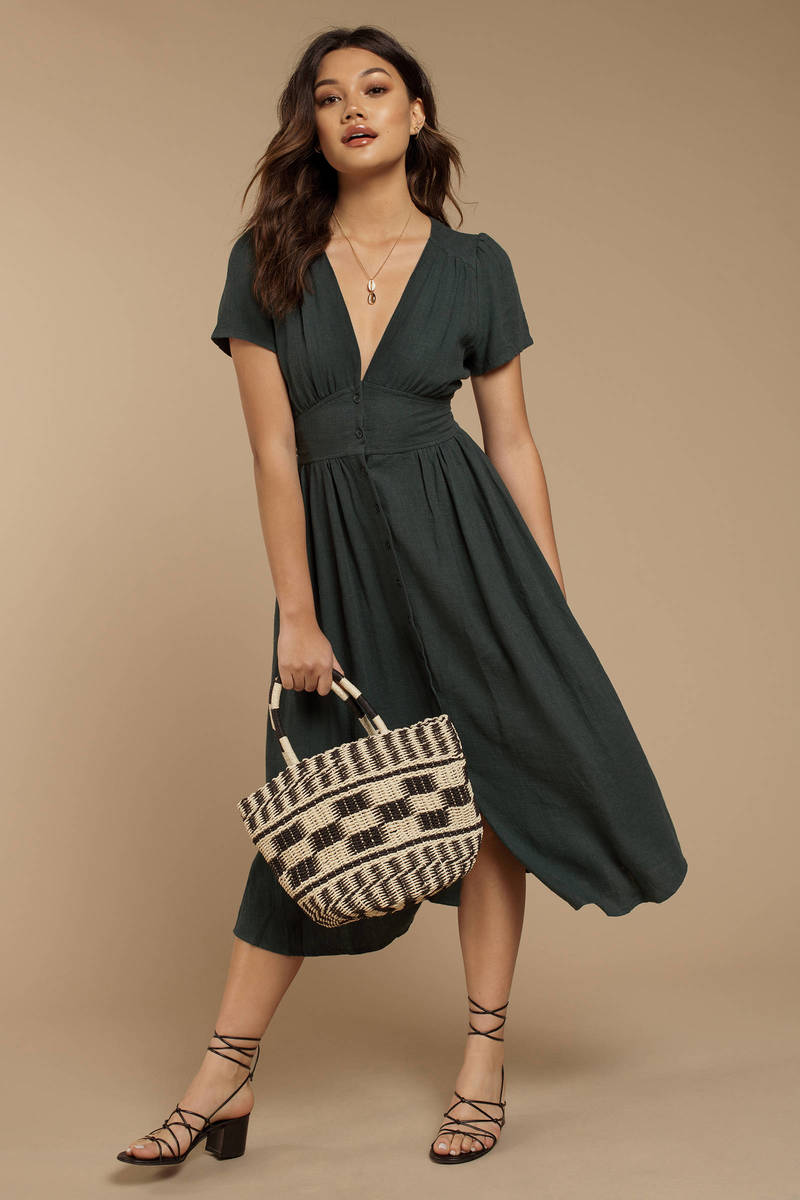 410ec7adf553 Justice Green Button Up Midi Dress -  108