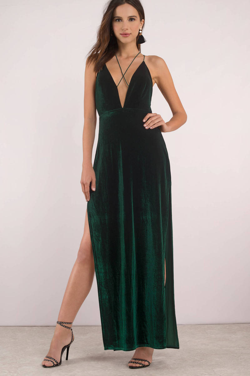 fc9f3a6e1c2 Sexy Green Maxi Dress - Evening Dress - Green Gown - Velvet Dress ...