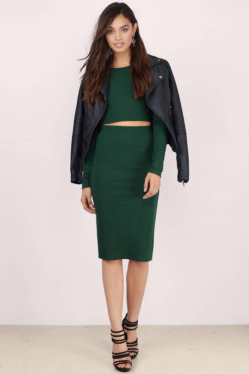 bb866aa23 Green Skirt - Back Slit Skirt - Hunter Green Pencil Skirt - $9 | Tobi US