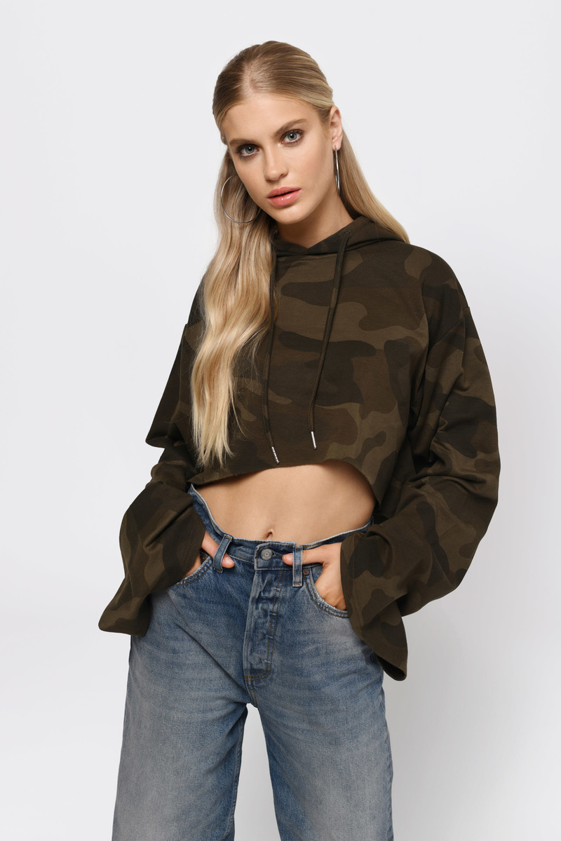 Show Off Green Cropped Hoodie