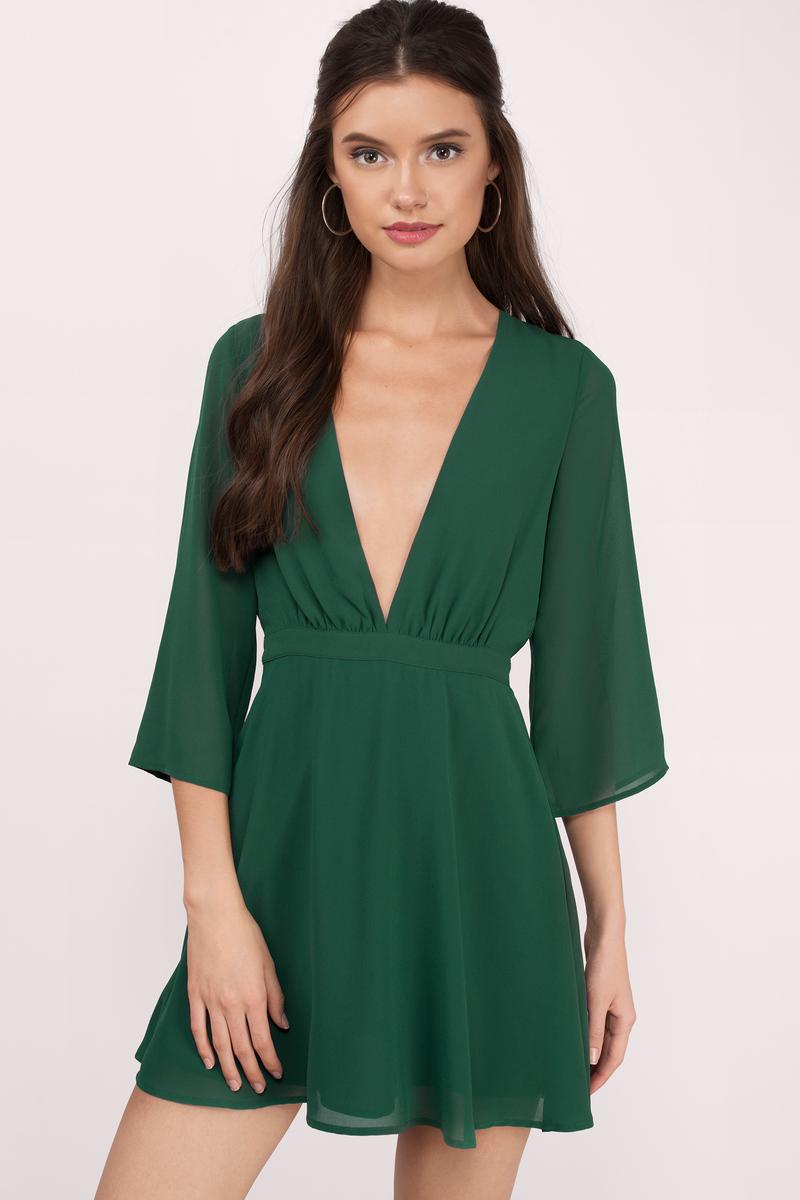 Green Dress Deep V Dress Royal Green Dress Skater