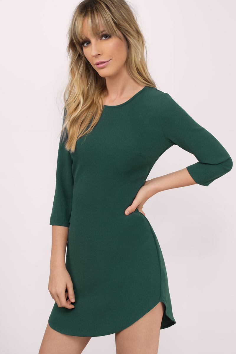 Green Dress Dolphin Hem Dress Jade Green Dress