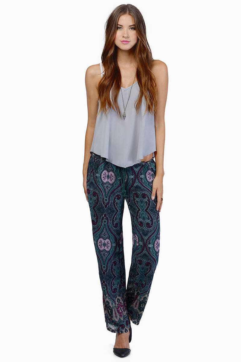 What We Want Green Paisley Pants