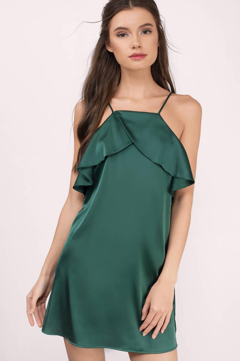 Zada Green Satin Shift Dress