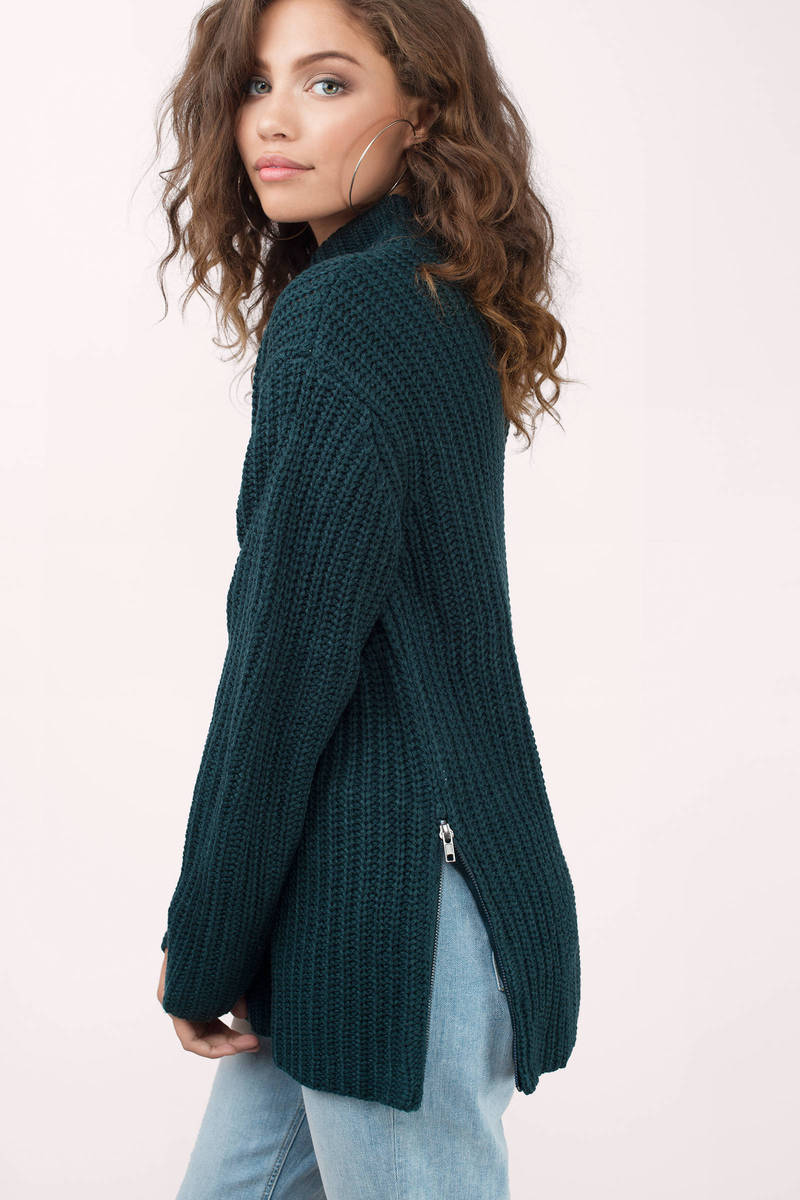 Zip It Good Green Knitted Sweater