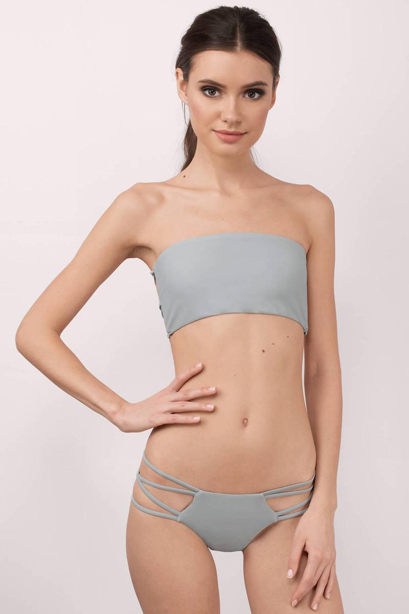 5f98b5fc742e Strappy Swimwear - Grey String Bikini - Grey Bikini Bottom - NZ  13 ...