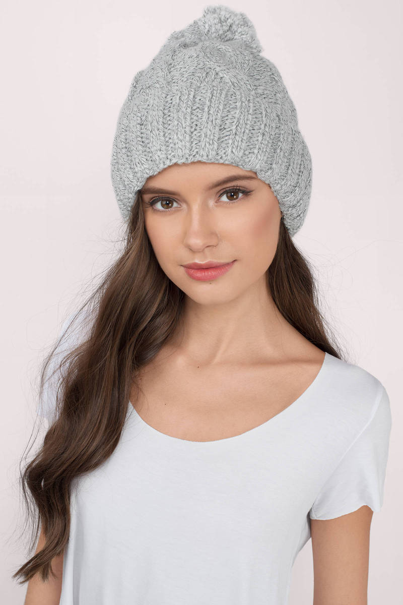 Alexandria Grey Knitted Pom Pom Beanie