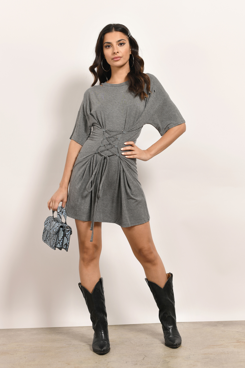 Grey Dress Corset Dress Half Sleeve Grey Dress Shift