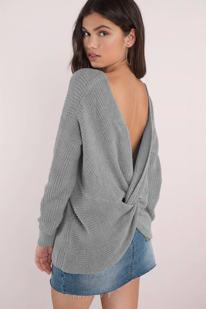 9cda9baf5643c2 Cute Grey Sweater - Back Twist Sweater - Grey V Back Sweater -  28 ...