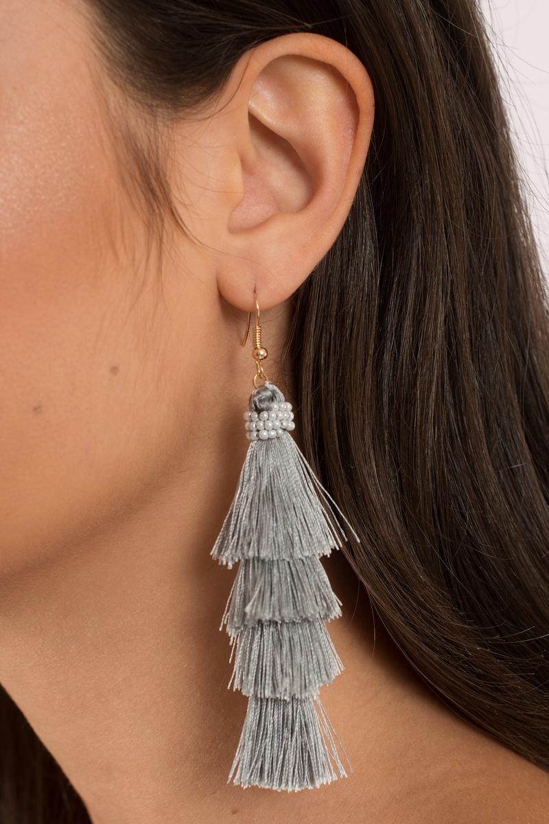 Aruba Grey Tassel Earrings