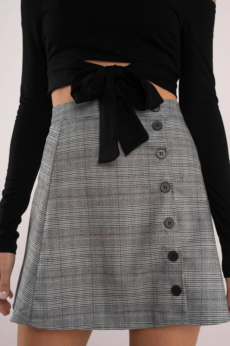 df38d1ad34 Grey Skirt - Preppy Side Button Skirt - Grey Plaid Skirt - $26 | Tobi US