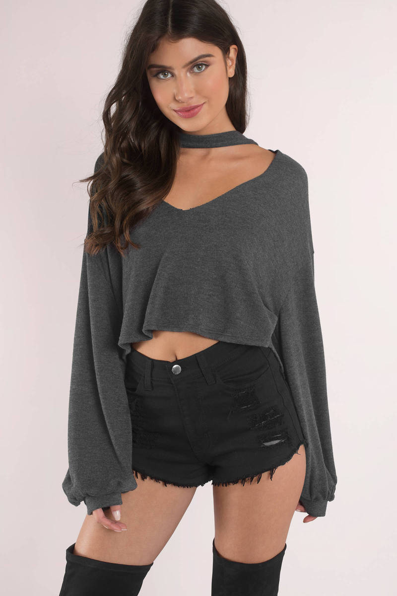 Attracted Taupe Choker Sweater
