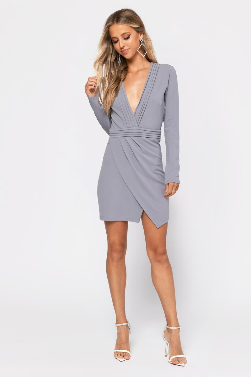 Cute Bodycon Dress - Long Sleeve Dress - Grey Dress - $58 | Tobi US