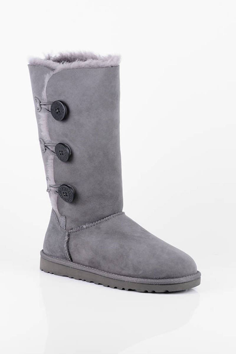 UGG Grey Bailey Button Triplet Tall Sheepskin Boots