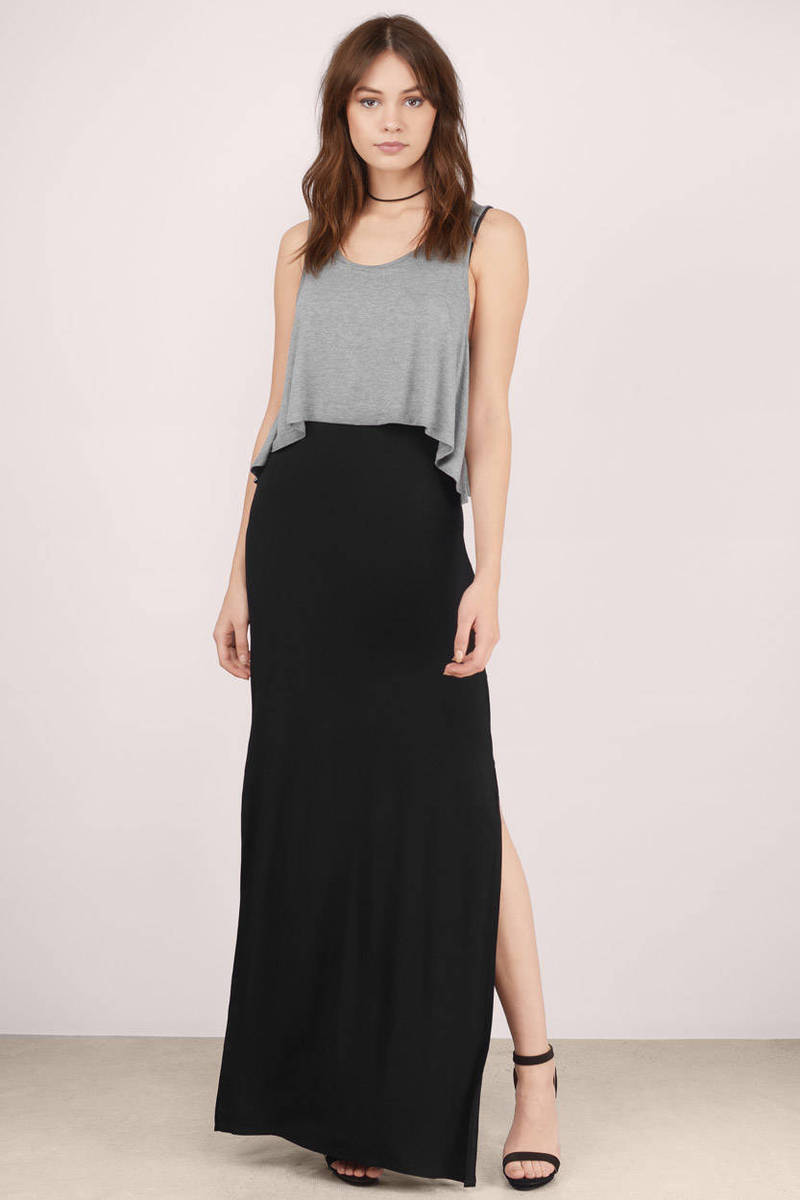 4d895cf7f19c Cute Grey   Black Maxi Dress - Grey Dress - Tiered Dress - Maxi ...