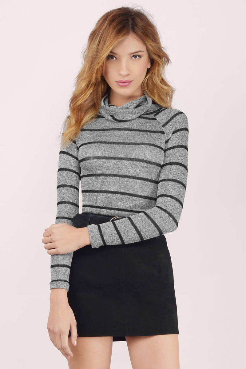Grey Top - Cowl Neck Top - Grey And Black Sweater - $16 | Tobi US