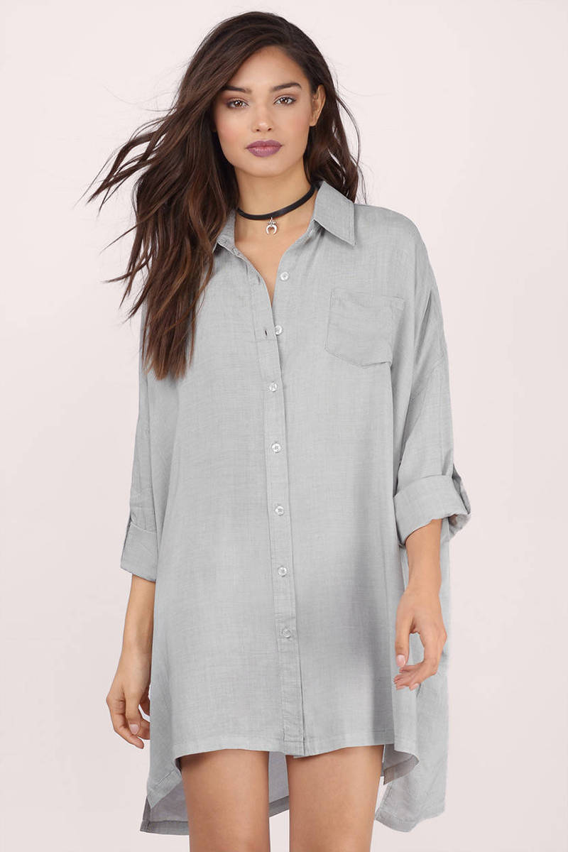 Brisbane Grey Cotton Shirt Dress