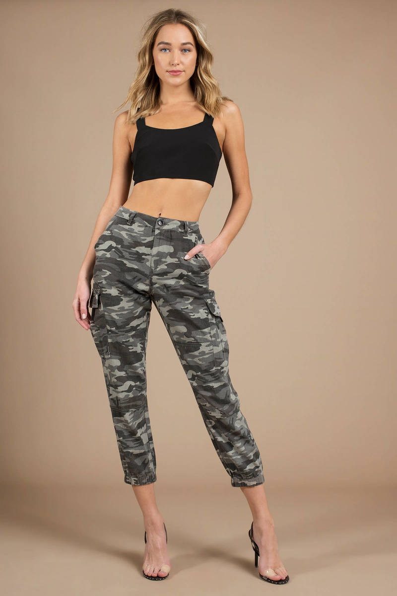 805d47daa0a0e Grey Pants - High Waist Camo Pants - Grey Camo Joggers - Cropped ...