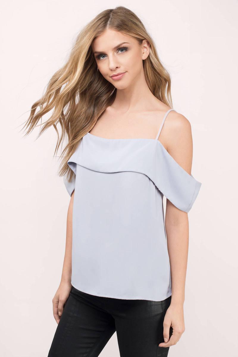 trendy grey blouse cold shoulder blouse. Black Bedroom Furniture Sets. Home Design Ideas