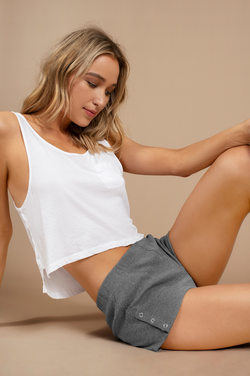 Chloe Grey Ribbed Shorts