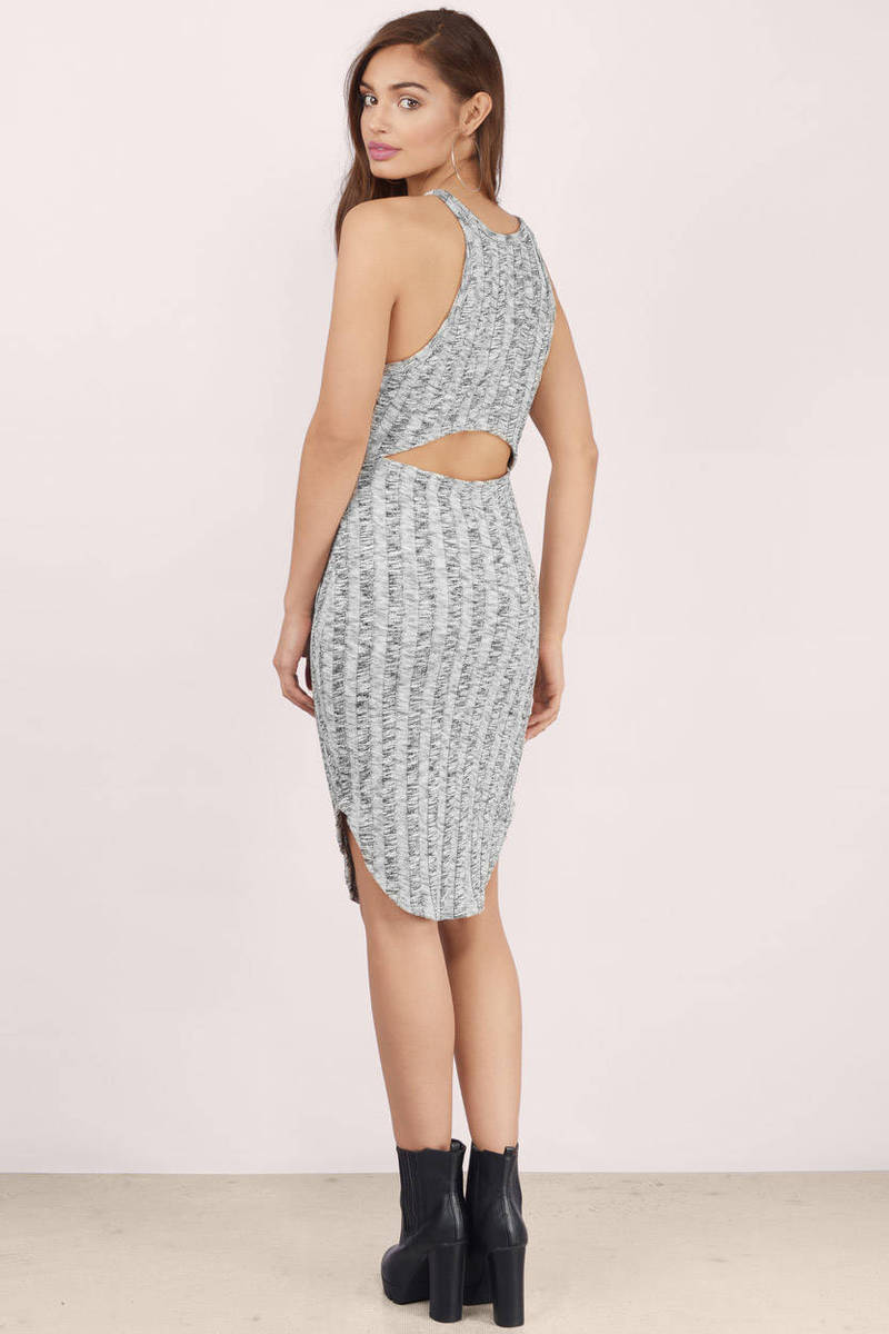 Choose Sides Grey Heather Knit Bodycon Dress