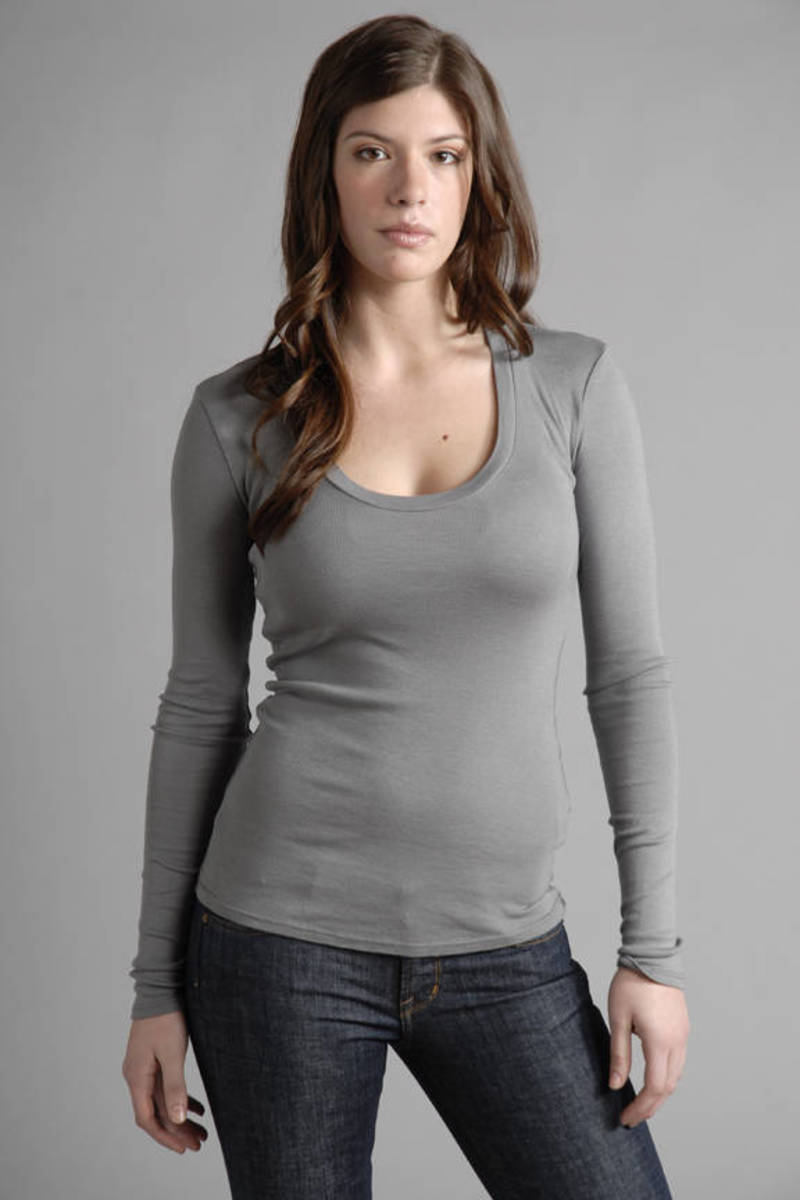 84bfe0b95da4 Grey James Perse Tee - Casual T Shirt - Grey Scoop Neck Tee - $13 ...