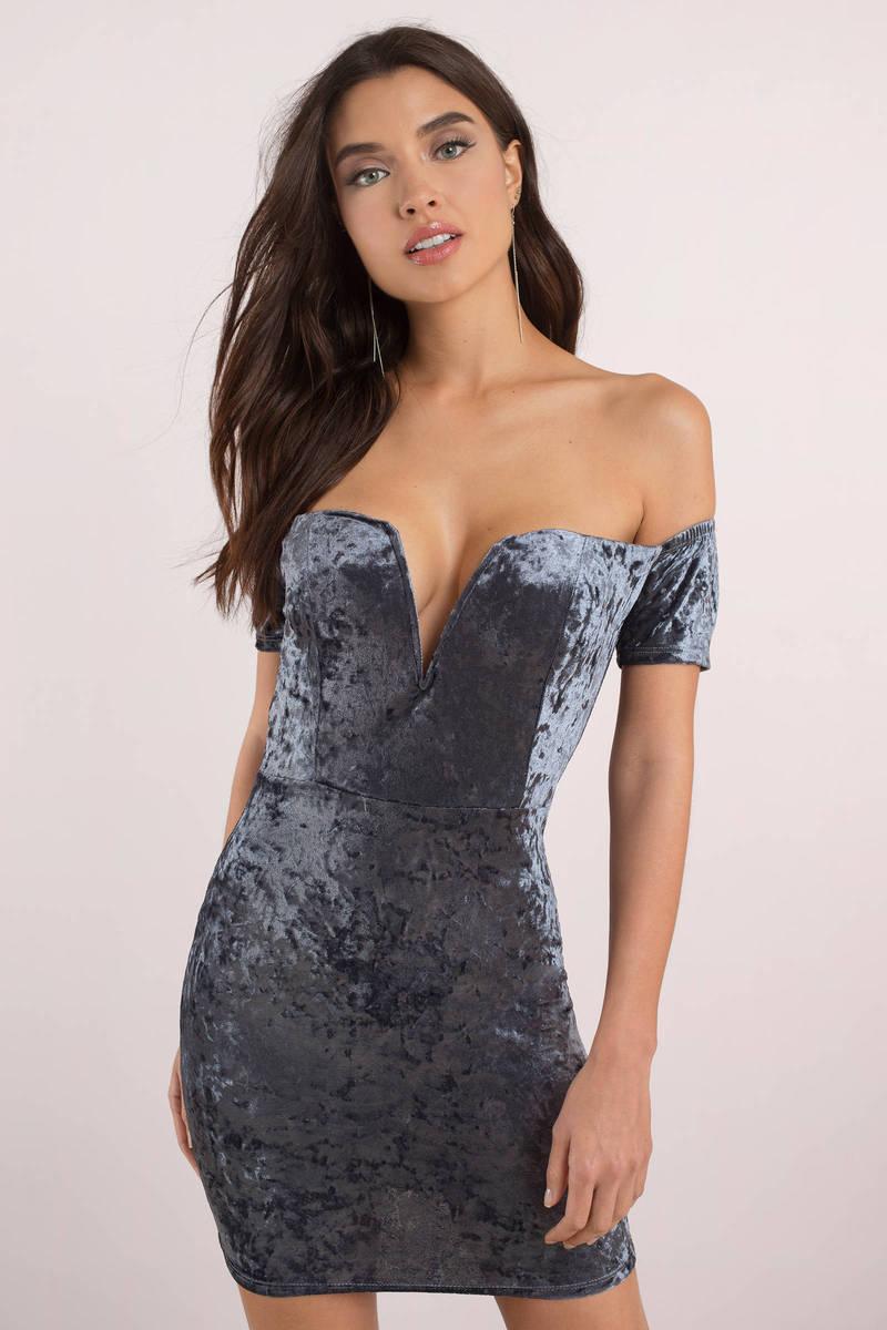 7e4f13dff114 Grey Bodycon Dress - Velvet Mini Dress - Grey Velour Mini Dress ...