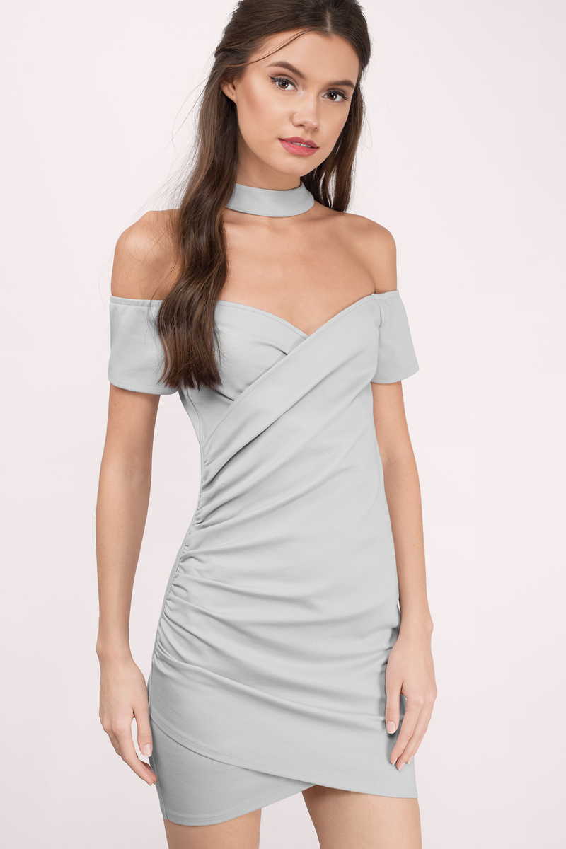 e020200646c9 Cute Grey Dress - Off Shoulder Dress - Stretch Dress - Bodycon Dress ...