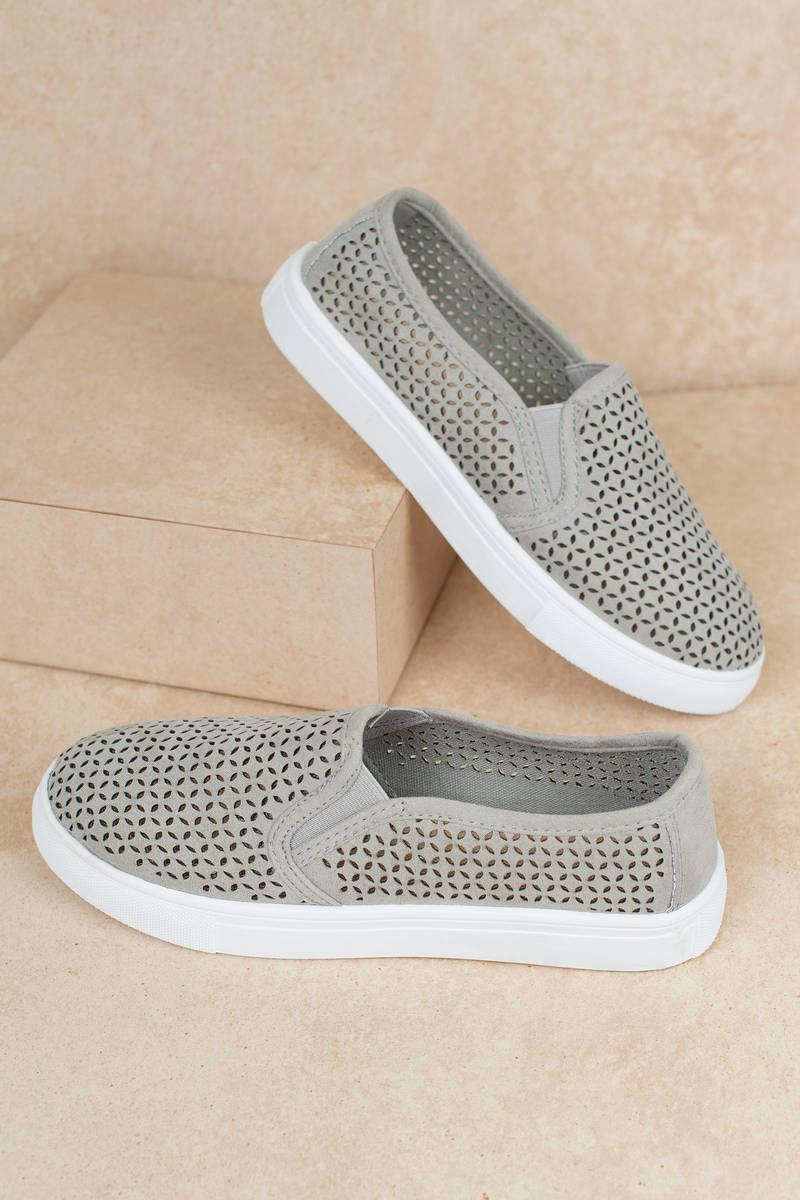 b3dbacd39e9b Grey Mia Shoes Sneakers - Eyelet Sneakers - Grey Slip On Shoes - AU ...