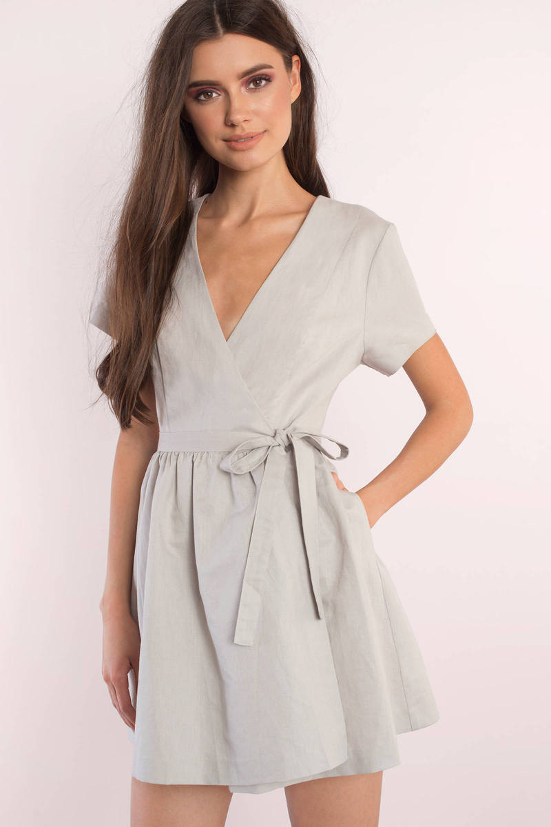 Elaine Linen Navy Wrap Skater Dress
