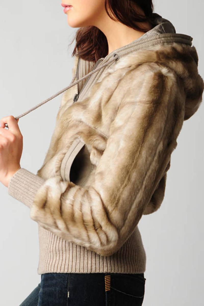 a68df970086d Grey Juicy Couture Jacket - Faux Fur Jacket - Grey Fur Bomber Jacket ...