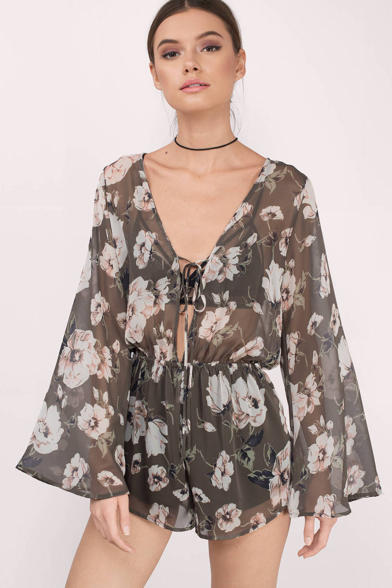 Feel Your Kiss Grey Floral Chiffon Romper