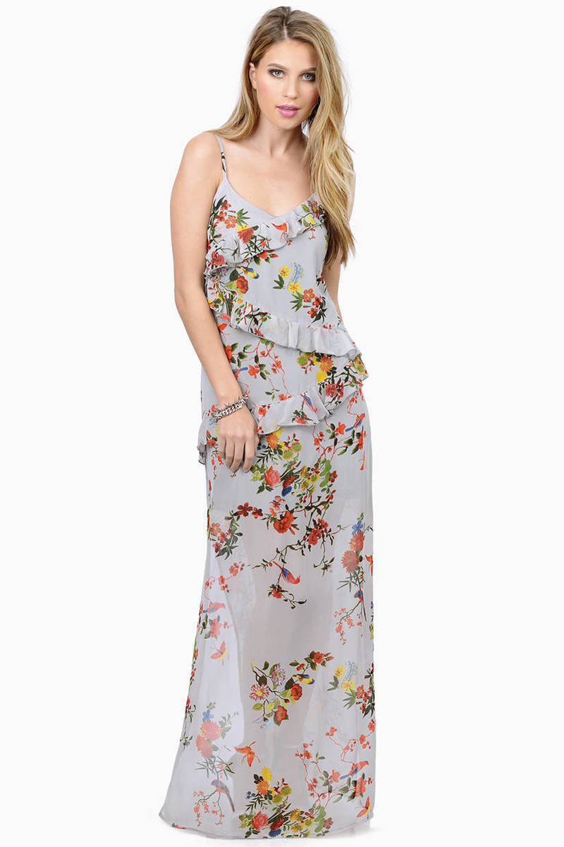 db674aa5bc0 Cute Grey Floral Maxi Dress - Floral Print Dress - Maxi Dress - £10 ...