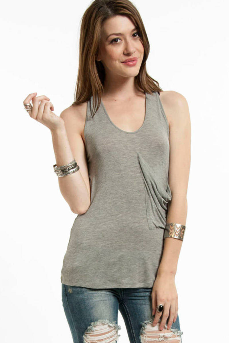 Front Pocket Crossed Tank Top