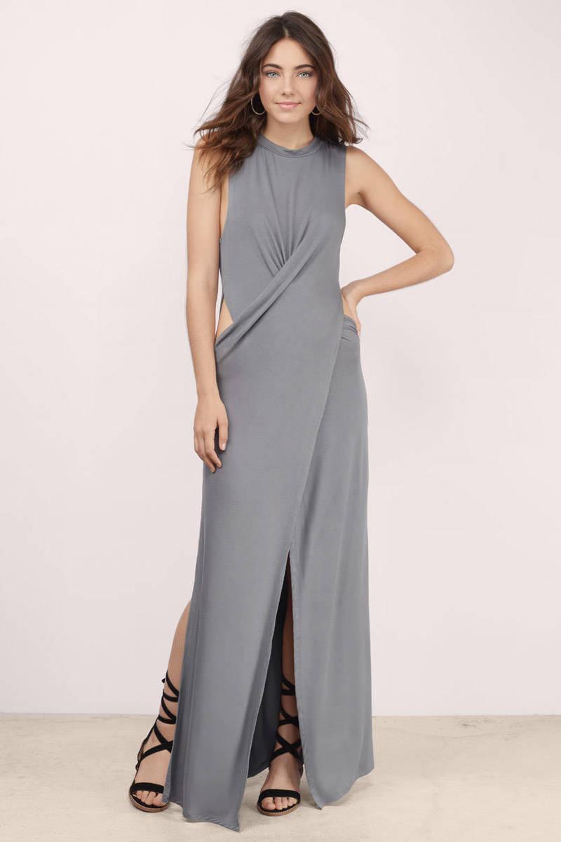 Chic Black Dress Cut Out Dress Pewter Long Dress