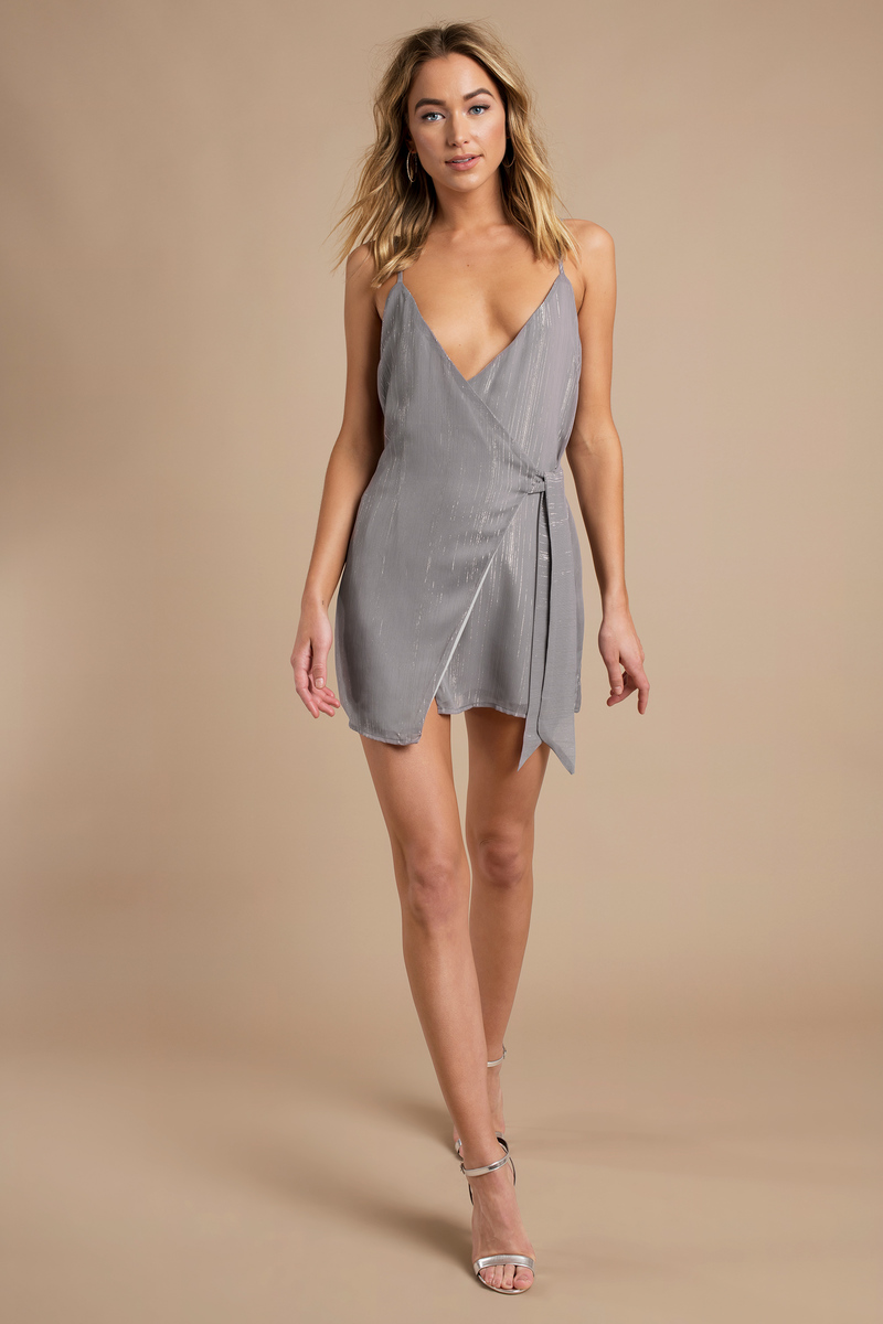 490f1cfd5 Sexy Grey Shift Dress - Front Tie Dress - Grey Wrap Dress -  27 ...