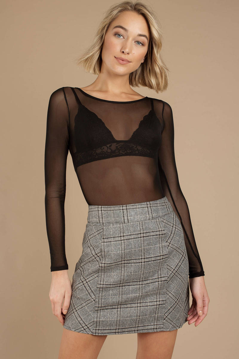 9a67647ee593 Grey Lucca Couture Skirt - A Line Mini Skirt - Grey Plaid Mini Skirt ...