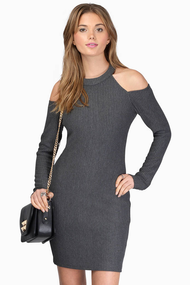 In The Knit Of Time Grey Bodycon Dress