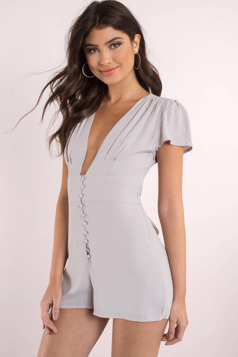 Isabella Grey Short Sleeve Romper