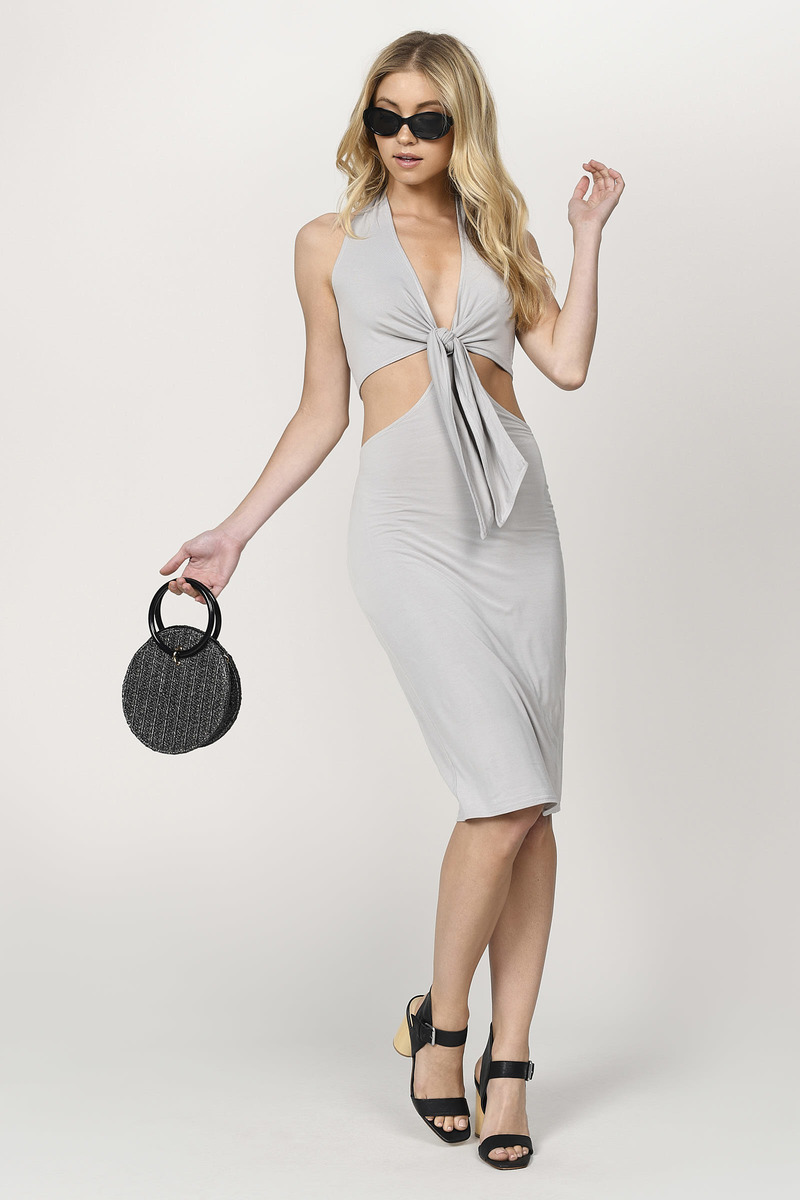 Sexy Grey Dress Wrap Dress Backless Sheath Dress