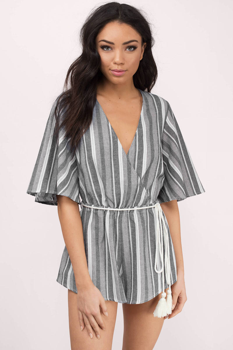 Julia Grey Striped Romper