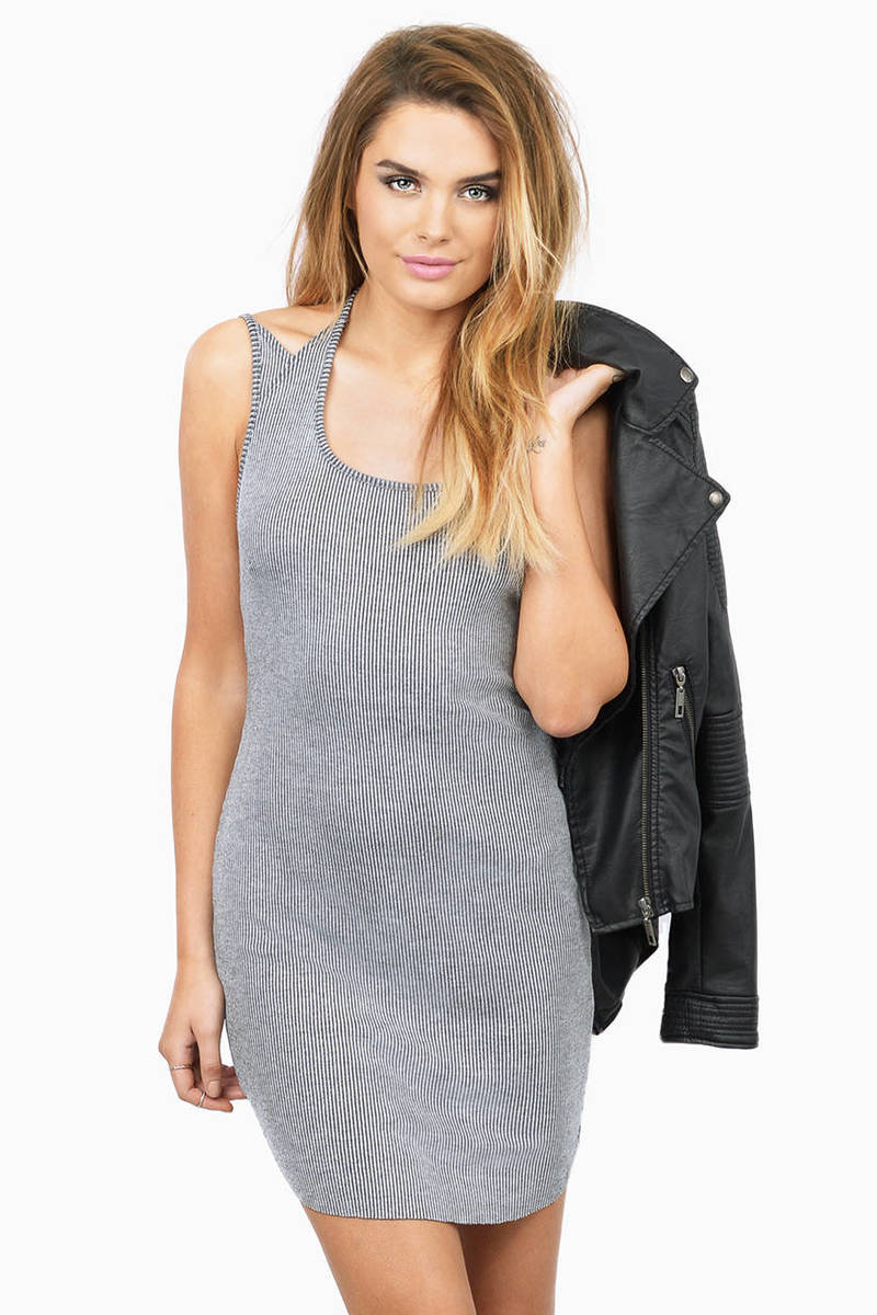 Kalina Grey Ribbed Bodycon Dress