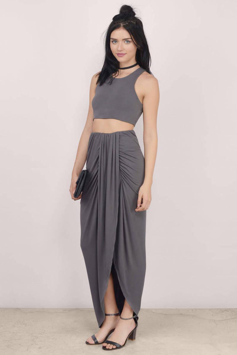 Keelie Grey Maxi Skirt Set