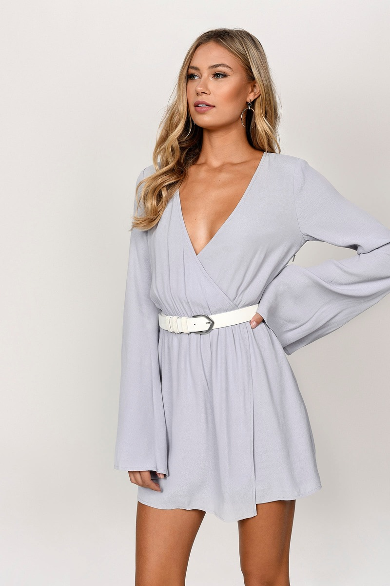 76b9eb821607 Grey Wrap Dress - Bell Sleeve Dress - Long Sleeve Grey Dress -  27 ...