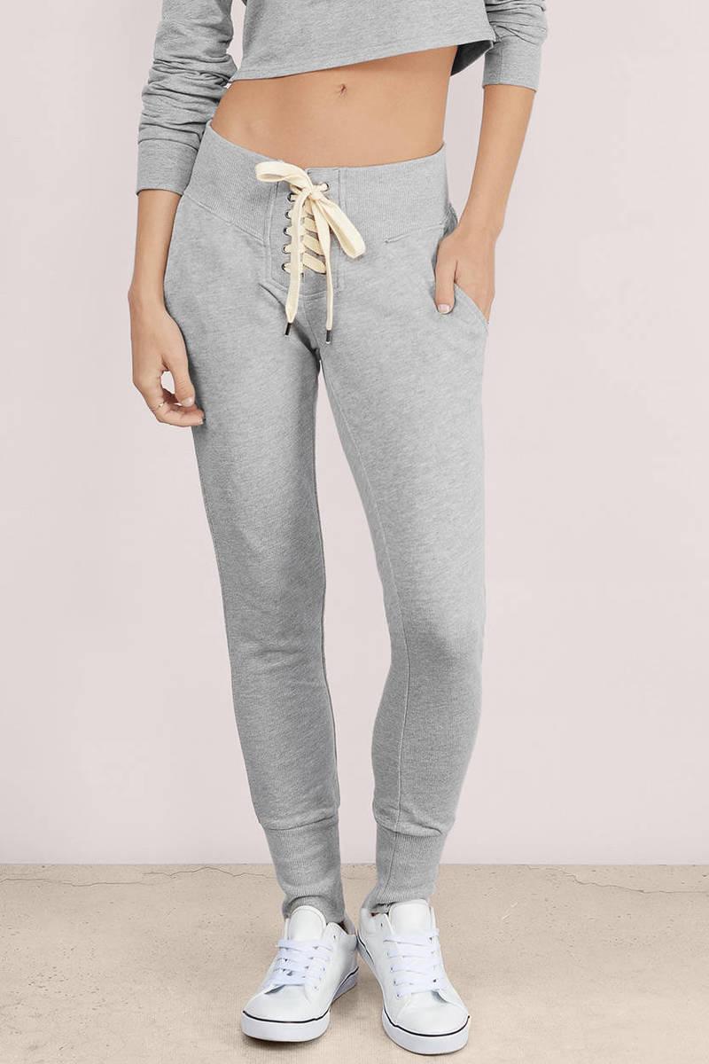 Laced Grey Sweat Pants