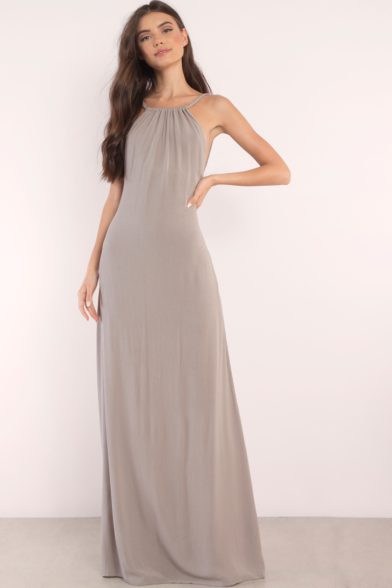 Lake Grey Halter Maxi Dress