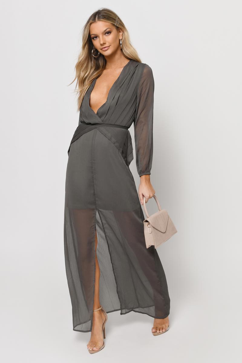 82f3fe41867bb Sexy Grey Dress - Pleated Dress - Pewter Long Dress - Maxi Dress ...