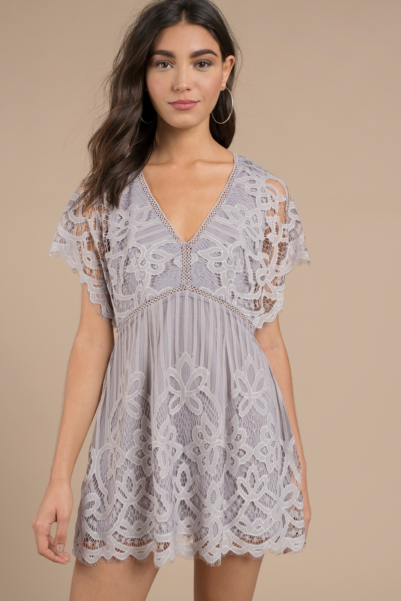 Lina Grey Lace Skater Dress