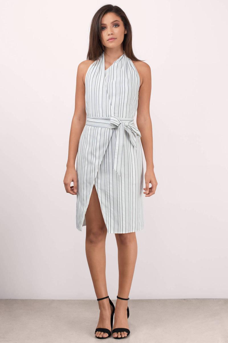 Stylestalker Keira Grey Linear Striped Midi Dress