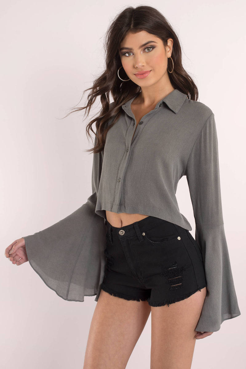 Grey Blouse Collared Shirt Long Bell Sleeve Tops 68 Tobi Us
